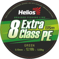 шнур плетеный helios extra class 8 pe braid green 0,10mm/135