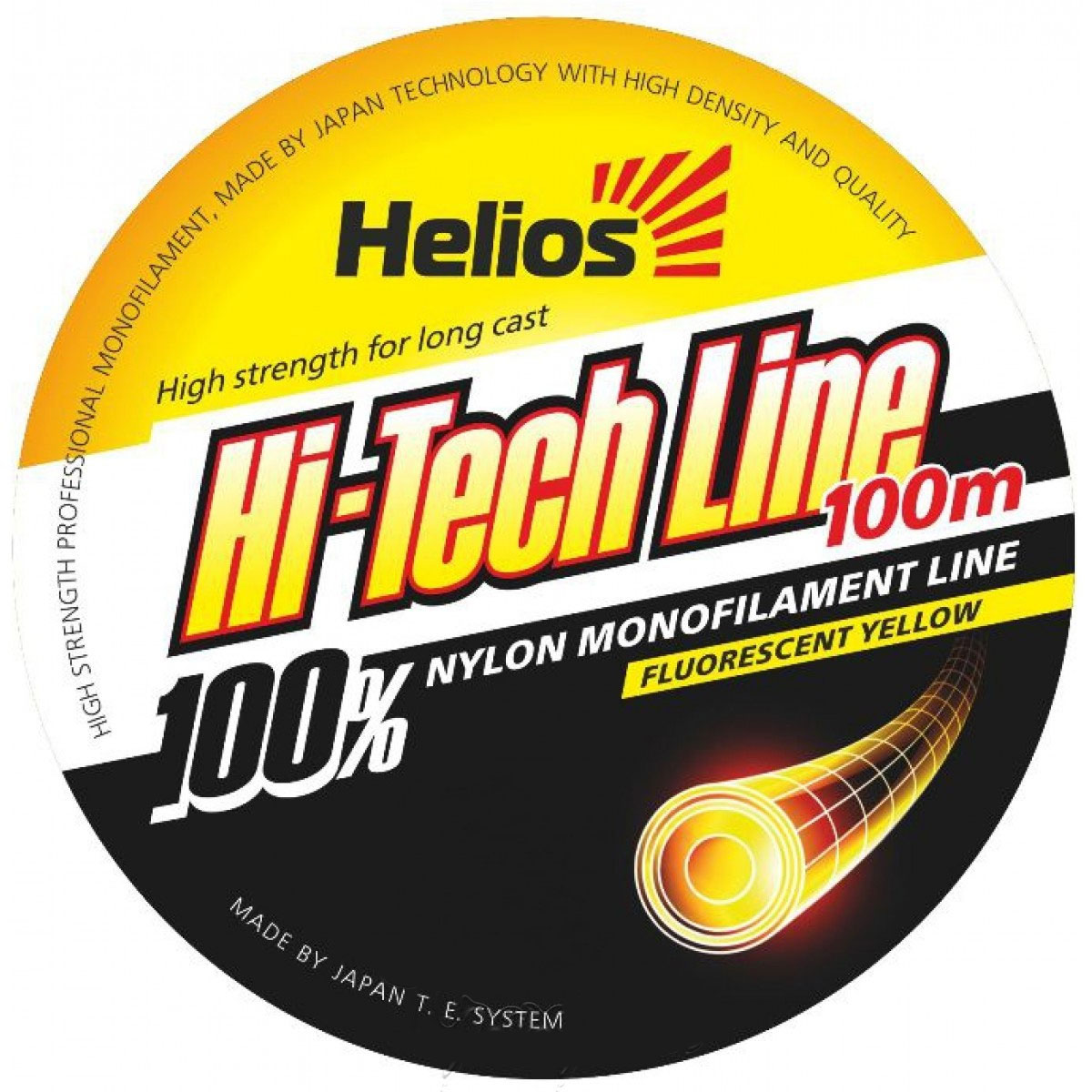 леска helios hi-tech line nylon fluorescent yellow 0,18mm/100