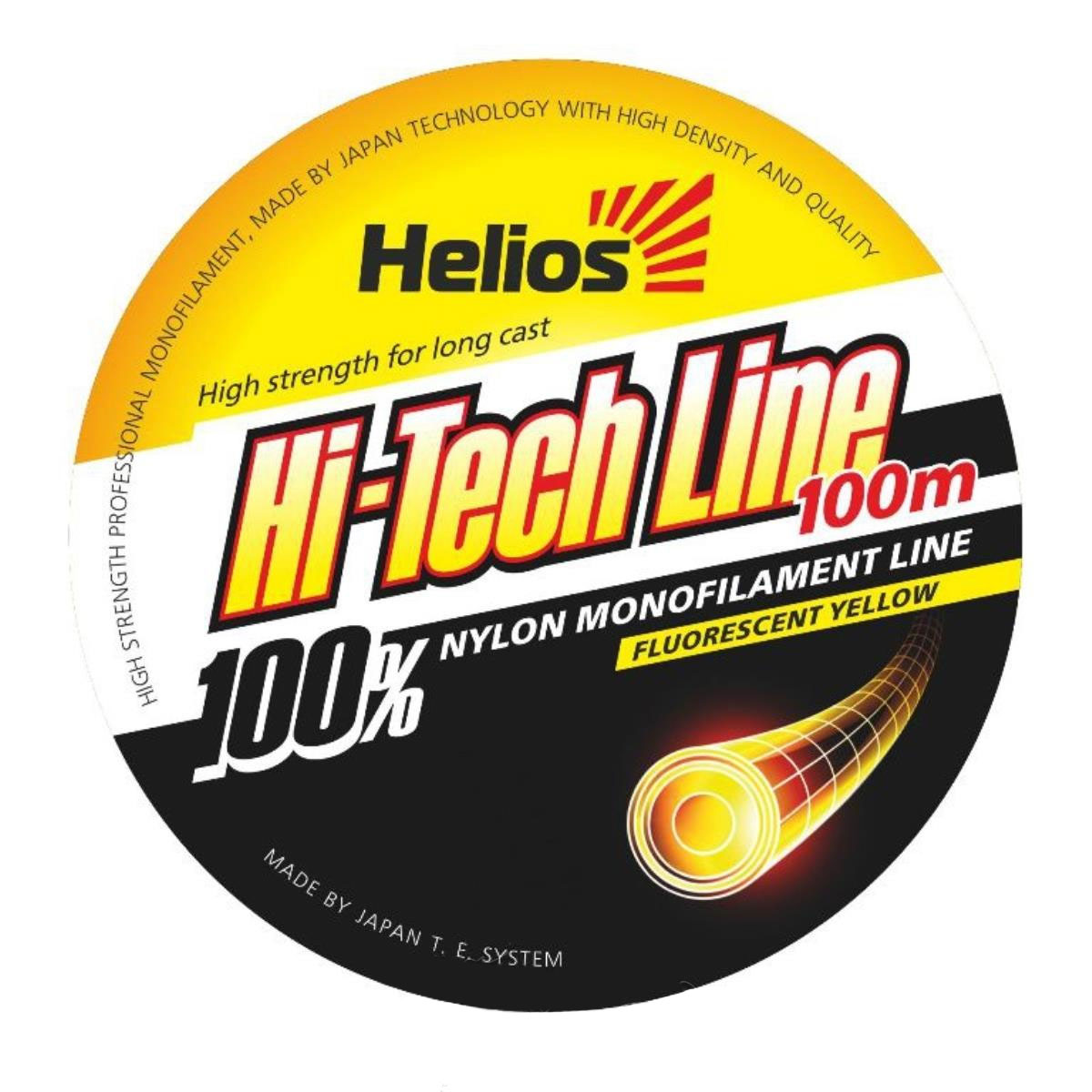 леска helios hi-tech line nylon fluorescent yellow 0,30mm/100