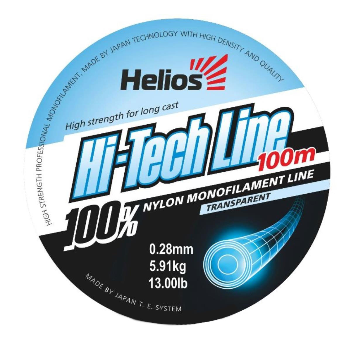 леска helios hi-tech line nylon transparent 0,28mm/100