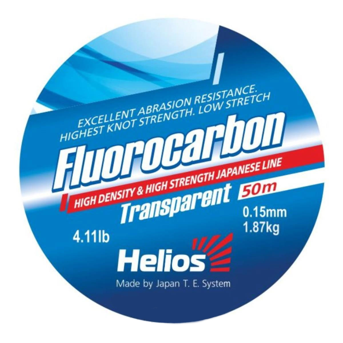 леска helios fluorocarbon transparent 0,15mm/50