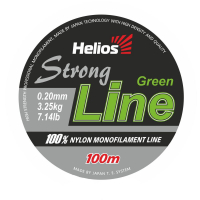 леска helios strong line nylon dark green 0,20mm/100